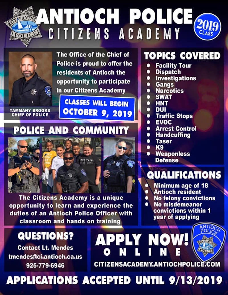 Back by popular demand🎉!! The Antioch Police Department is accepting applications for our 2019 Citizens Academy📚, now through September 13th. Interviews will be held on September 18th and 19th and classes begin October 9th.